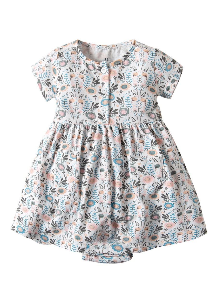 Buttoned Floral Baby Girl Clothes Summer Romper Dress
