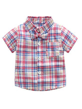 Load image into Gallery viewer, 2 Colors 2-Piece Outfits Toddler Infant Boy Checked Shirt Top and Suspender Short Pants