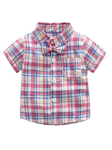 2 Colors 2-Piece Outfits Toddler Infant Boy Checked Shirt Top and Suspender Short Pants