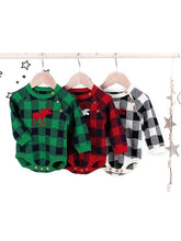 Load image into Gallery viewer, Christmas Baby Unisex Deer Checked Crochet Bodysuit