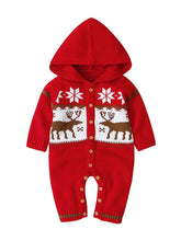 Load image into Gallery viewer, Baby Christmas Reindeer Snowflake Crochet Hooded Overalls