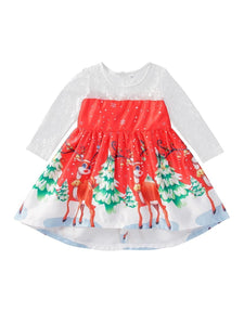 Christmas Theme Toddler Little Girl Mesh Patchwork Dress