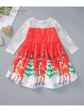 Load image into Gallery viewer, Christmas Theme Toddler Little Girl Mesh Patchwork Dress