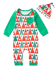 2-Piece Christmas Tree  Baby Coveralls Matching Hat