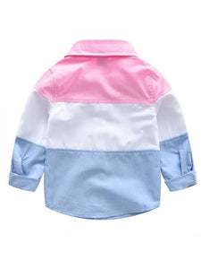 2-piece Color Block Shirt Jeans Outfits Set Long-sleeve Top Cool Jeans for Toddlers Boys