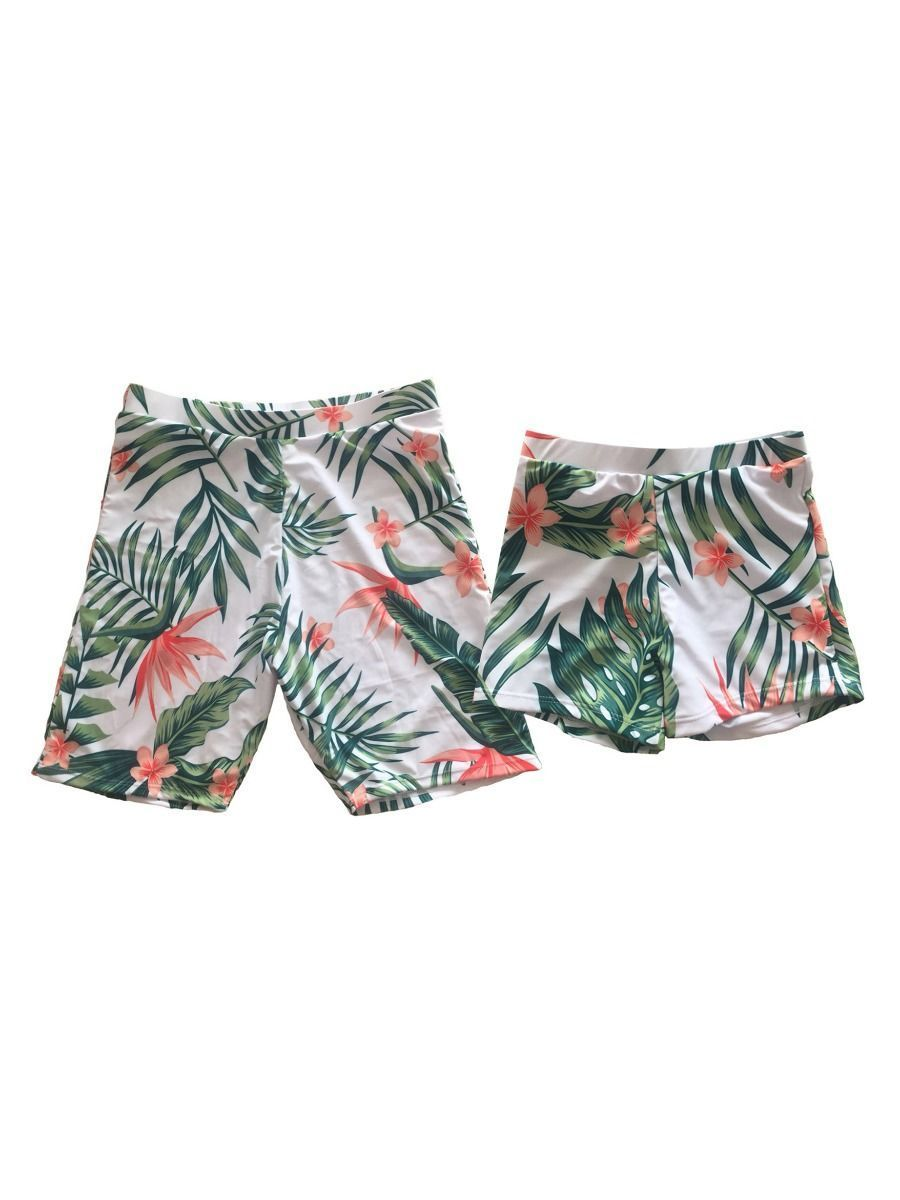 Dad & Son Plant Print Swimming Trunks Family Matching