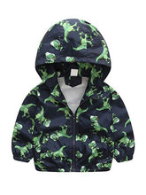 将图片加载到图库查看器,Dinosaurs Zip-up Toddlers Boys Windproof Hooded Jacket