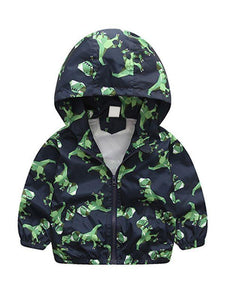 Dinosaurs Zip-up Toddlers Boys Windproof Hooded Jacket
