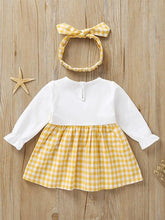 Load image into Gallery viewer, Fall Baby Girl Cute Outfit 2-Piece Plaid Dress Matching Headband