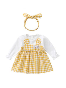 Fall Baby Girl Cute Outfit 2-Piece Plaid Dress Matching Headband