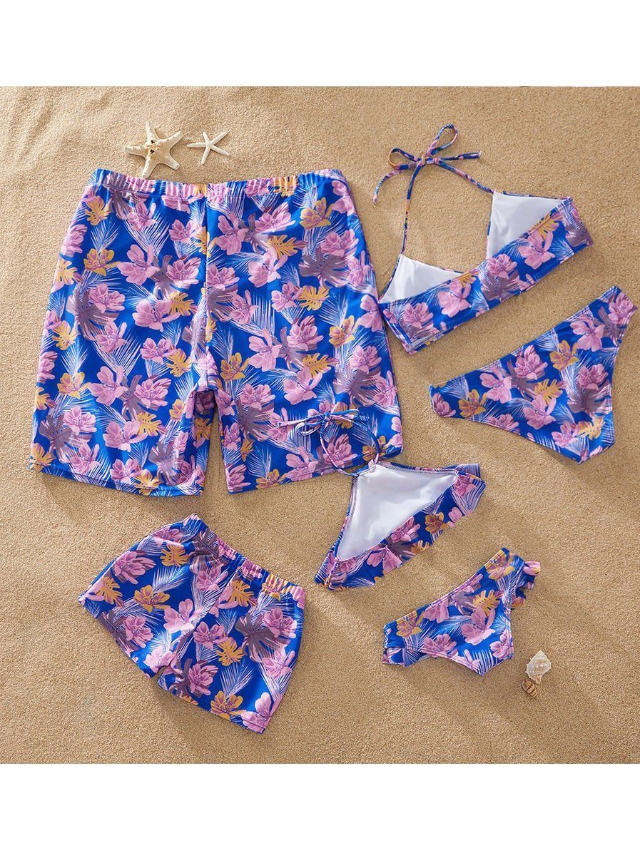 Flower Leaf Pattern Tankini Family Matching Swimwear
