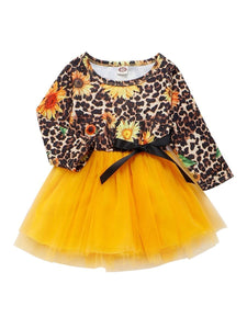 Fashion Girl Sunflower Leopard Print Mesh Patchwork Dress