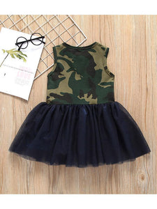 Fashion Little Girl Camo Mesh Patchwork Sleeveless Dress