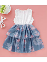 Load image into Gallery viewer, Fashion Round Neck Flamingo Bowknot Toddler Girl Sleeveless Dress