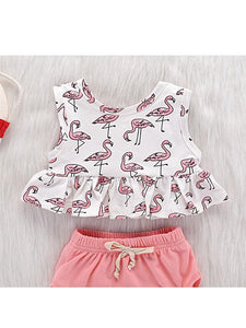 2-piece Baby Girls Set Sleeveless Dress+Pink Cording Panties