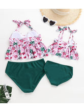 Load image into Gallery viewer, Floral Ruffle Tie Swimsuit For Mommy and Daughter