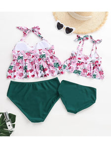 Floral Ruffle Tie Swimsuit For Mommy and Daughter