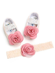 Infant Baby Girls 2-Piece Set Flower Trim Lace Princess Shoes Matching Headband