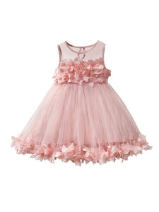 Flower Trim Mesh Girl Dress White/Pink Color