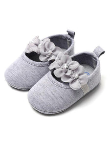 Cute Flower Trimmed Princess Baby Girls Shoes
