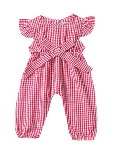 Pretty Flutter Sleeve Bow Checked Baby Girl Summer Overall