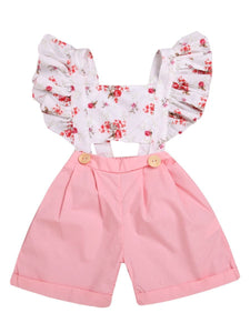 Flutter Sleeve Flower Baby Toddler Kids Jumpsuit 100% Cotton