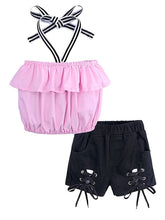 Load image into Gallery viewer, Frilled Halter Neck Crop Top+ Lace-up Short Pants 2-Piece Set