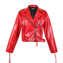 Load image into Gallery viewer, 2020 Spring Red Patent Shiny Leather Jacket Women Bright Surface Small Coat Locomotive Female Glossy Leather Biker Coat HR5032