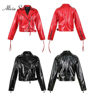 2020 Spring Red Patent Shiny Leather Jacket Women Bright Surface Small Coat Locomotive Female Glossy Leather Biker Coat HR5032