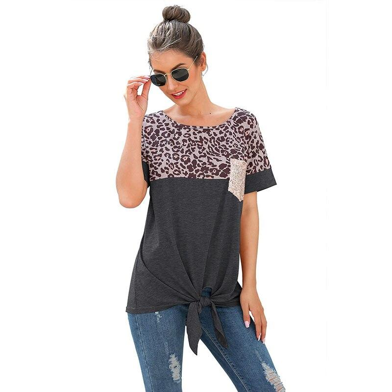 CINESSD Women Short Sleeves Tee Shirts Round Neck Leopard Patchwork Pocket Sequin Tops 2020 Knotted Spring Summer Loose Tshirt