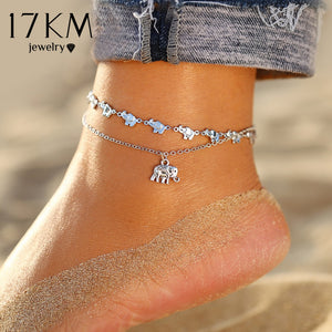 17KM Vintage Bracelet On Leg Fashion Animal Elephant Anklets For Women Multilayes Adjustable Anklet 2020 Foot Beach Jewelry Gift