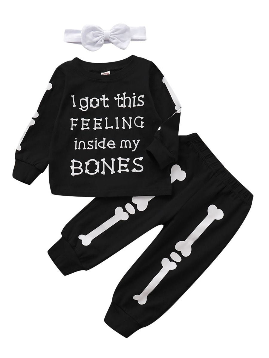 3-Piece Round-neck Bone Letters Halloween Outfits Long-sleeved Shirt+Pants+Headband