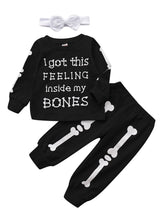 Load image into Gallery viewer, 3-Piece Round-neck Bone Letters Halloween Outfits Long-sleeved Shirt+Pants+Headband