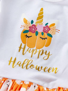 Happy Halloween 2-Piece Romper Dress + Headband