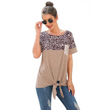Load image into Gallery viewer, CINESSD Women Short Sleeves Tee Shirts Round Neck Leopard Patchwork Pocket Sequin Tops 2020 Knotted Spring Summer Loose Tshirt