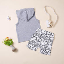 Load image into Gallery viewer, Baby Little Boy Outfits Hooded Tank Top+Printed Shorts
