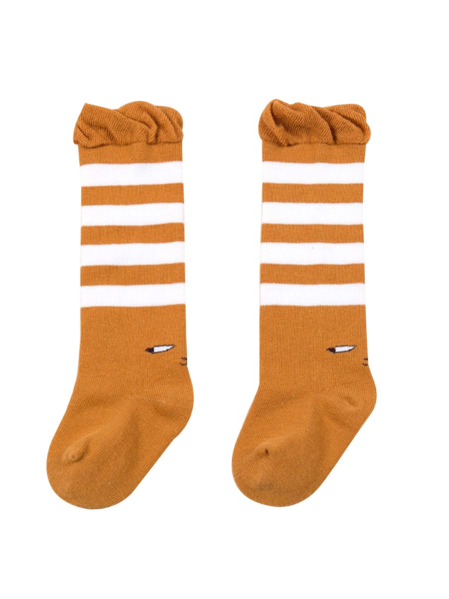 Striped Knee High Socks Loose Mouth Mid-calf Length Socks For Newborn