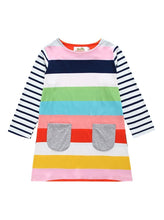 Load image into Gallery viewer, Little Girl Rainbow Stripe Shift Dress