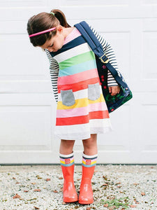 Little Girl Rainbow Stripe Shift Dress