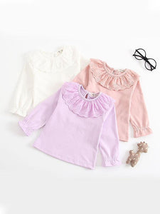 Long Sleeves Shirt Solid Color Doll Collar Baby Girls Undershirt
