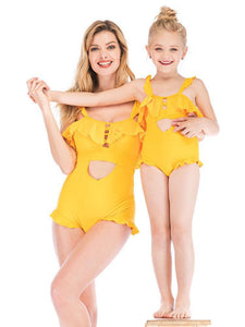 Mommy & Daughter Yellow Frilled One Piece Beach Wear