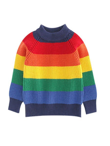 Mom and Me Rainbow Color Crochet Sweater 2-color