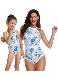 Mommy & Me Leaf Print One-piece Swimwear