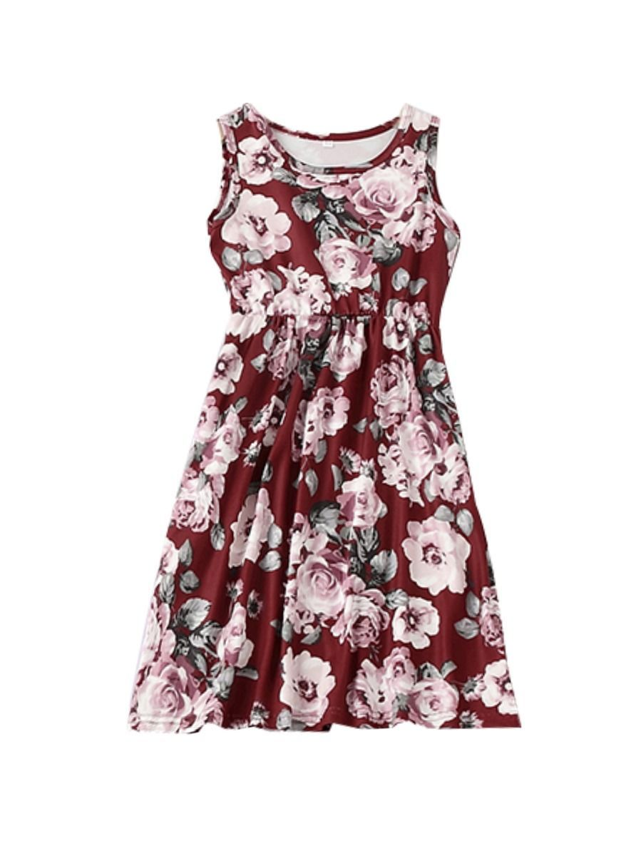 Mommy And Me Family Fitted  Big Flower Sleeveless Dress