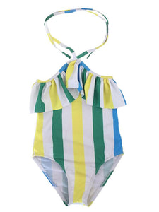 Mommy and Me Striped Color Blocking One Piece Swimming Wear