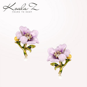 French single hand enamel purple small flower ear nail ear clip without ear hole female adjustable spiral Japanese fresh