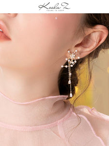 Original design heavy hand made windmill with tassel inlaid pearl earrings and ear clip without ear hole, female advanced round face