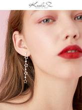 Load image into Gallery viewer, Fine point inlay welding process! Asymmetric love Star Long tassel earring with no ear hole and clip girl temperament