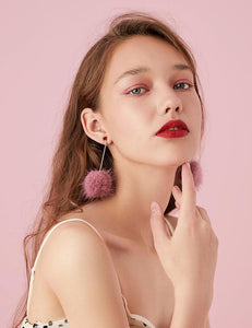Japanese hundred thin medium-length mink hair ball love tassel earrings no ear hole ear clip female painless set