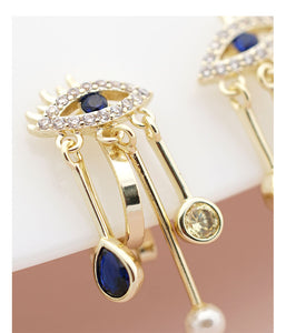 Devil's eye is small and exquisite temperament personality earring earring earring clip female blue eyes retro